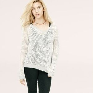 Lou & Grey Open Stitch Sheer Gray Knit Top Sweater